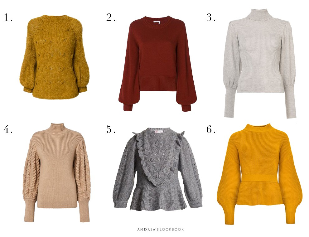 d4c982bed5e829 Maroon Balloon Sleeve Sweater (Similar Here) 3. Ulla Johnson Brynn  Turtleneck (Also Love This In Both Colors) 4. Caroline Constance Cable Knit  Sweater 5.